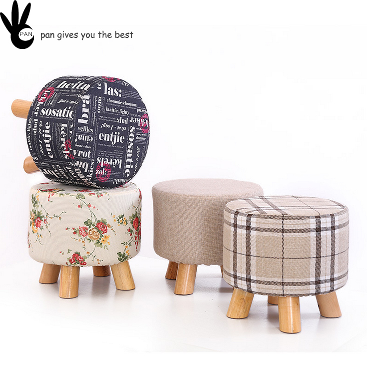 home furniture new design cheap fabric step round footstool small wood frame stool