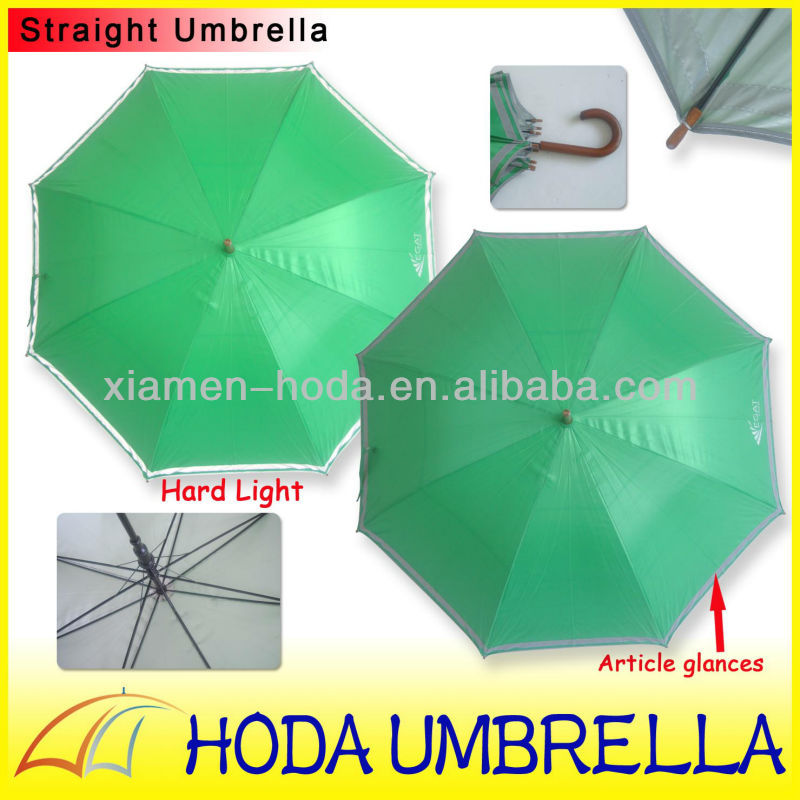 promotion wooden stick umbrella with reflective piping/ safety umbrella at night