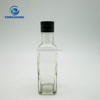 180ml clear square olive oil glass bottle with metal lids