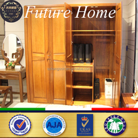 nice finish factory solid wooden 4 door wardrobe for small room