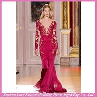 HE9465 new popular for wholesales V neckline dark red lace appliqued top mermaid tulle long sleeve evening gowns