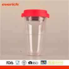 Custom double walled glass insulated travel coffe cup with silicone lid