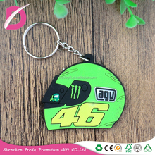 Single-faced soft pvc keychain promotion gifts for motorcycle helmet