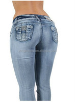 Women's fashion Colombian sexy syle butt lifting push up capri shorts stretch jeans with diamonds decoration