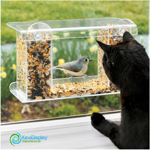 Wall-hanging Acrylic Automatic Feeder For Wild Birds With Suction Cups