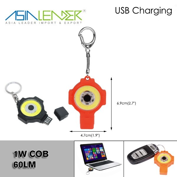 100% White, 50%White, COB LED Rechargeable Keychain With LED Light