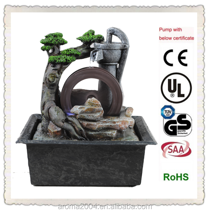 resin tree waterwheel small indoor fountains feng shui crafts
