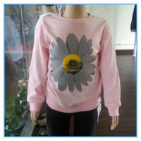 2016 plain OEM sunflower printed top fancy girl comfort long sleeve t shirts, high quality children sweet long sleeve t shirts