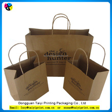 production brand name luxury design printing folded brown craft custom kraft paper shopping bag