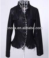14PJ1200 Lady fashion pu outdoor jacket