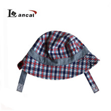 Wholesale cusotm Kids reversible checked& herringbone tweed bucket hat