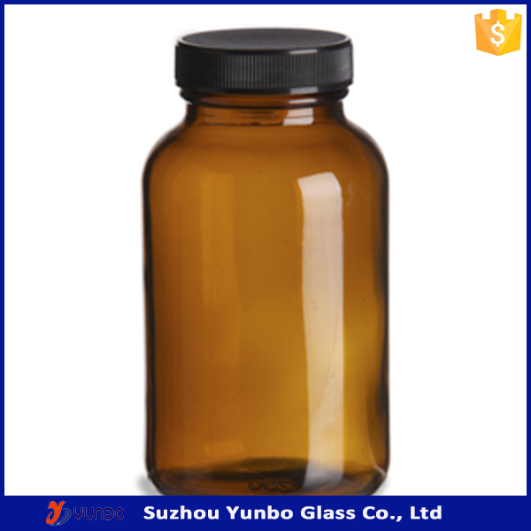 Discount 8oz Amber Tablet Glass Bottle 250cc with Black Cap for Pharmecutical, Pills