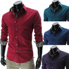 Wholesale Mens Luxury Slim Fit Casual Shirt Long-sleeve Shirt Solid Color Dress Shirt 17 colors/