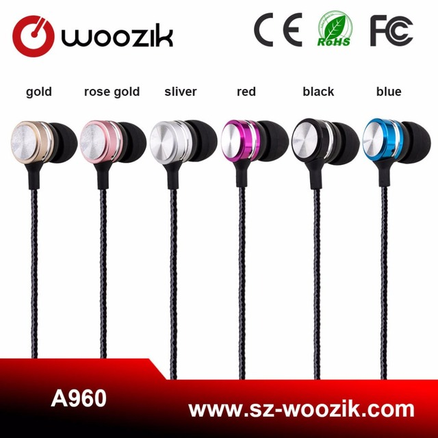 Woozik Brand Promotion Custom Metal In-Ear Stylish Earphone Stereo Cheap Headphones With Ce Rohs Fcc