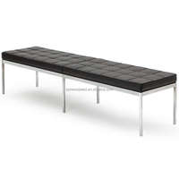 Stainless Steel and Leather Lounge Bench DS-B216C