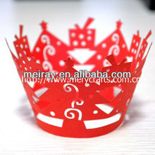Hot sale! various colors of laser cut cupcake wrapper Christmas tree decoration
