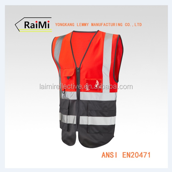 Wholesale Multi Pocket Vest Security Red And Black Designer Safety Reflective Vest