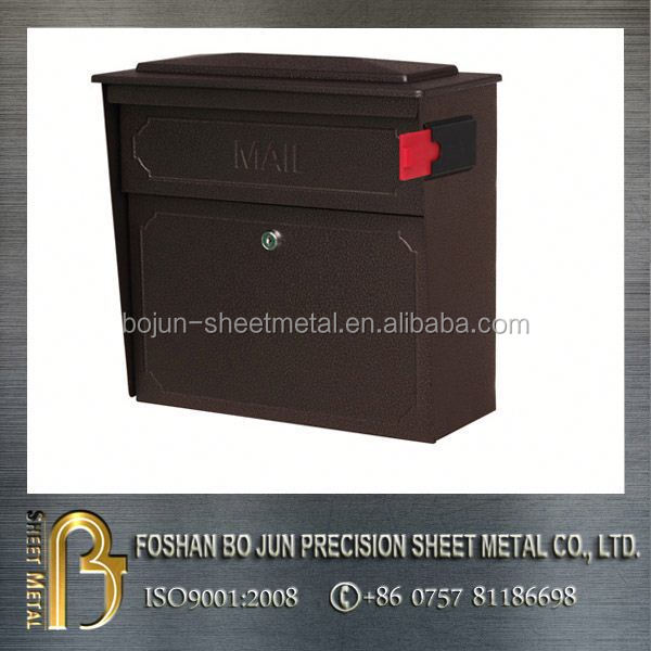 custom chocolate powder coating mailbox lockable fabrication made in china