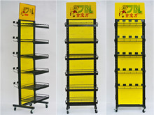 Double side metal display rack for shop/Movable display stand for hanging items