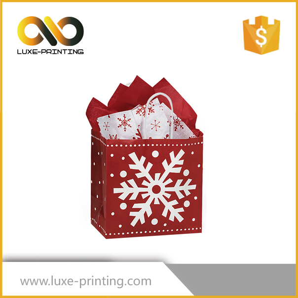 2017 new products 3D Christmas gift paper box packaging bag with logo printing