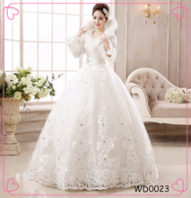2015 New Design Diamante White Long Sleeves Vintage Lace Bridal Winter Wedding Dress