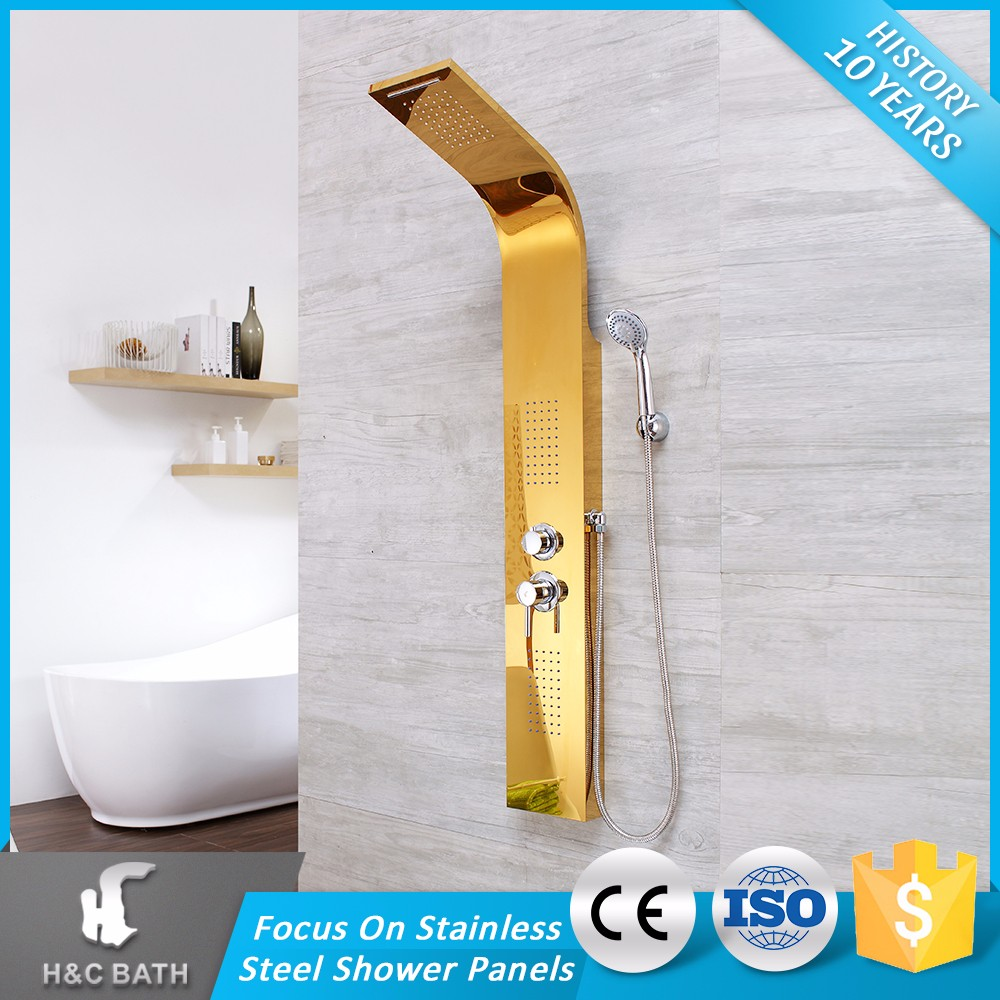 Top Quality Chrome Plating Golden Square 304 Stainless Steel Shower Column Set