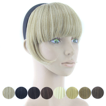 Synthetic Hair Fringe with Clip Black Blonde Blunt Hair Bangs Hair Pieces for Women