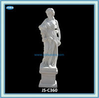 Natural White Stone Naked Lady Take Grape Statue