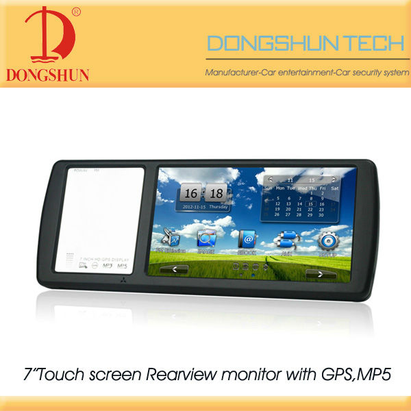 "7"" car rearview mirror monitor with USB,SD,MP5,GPS navigation"