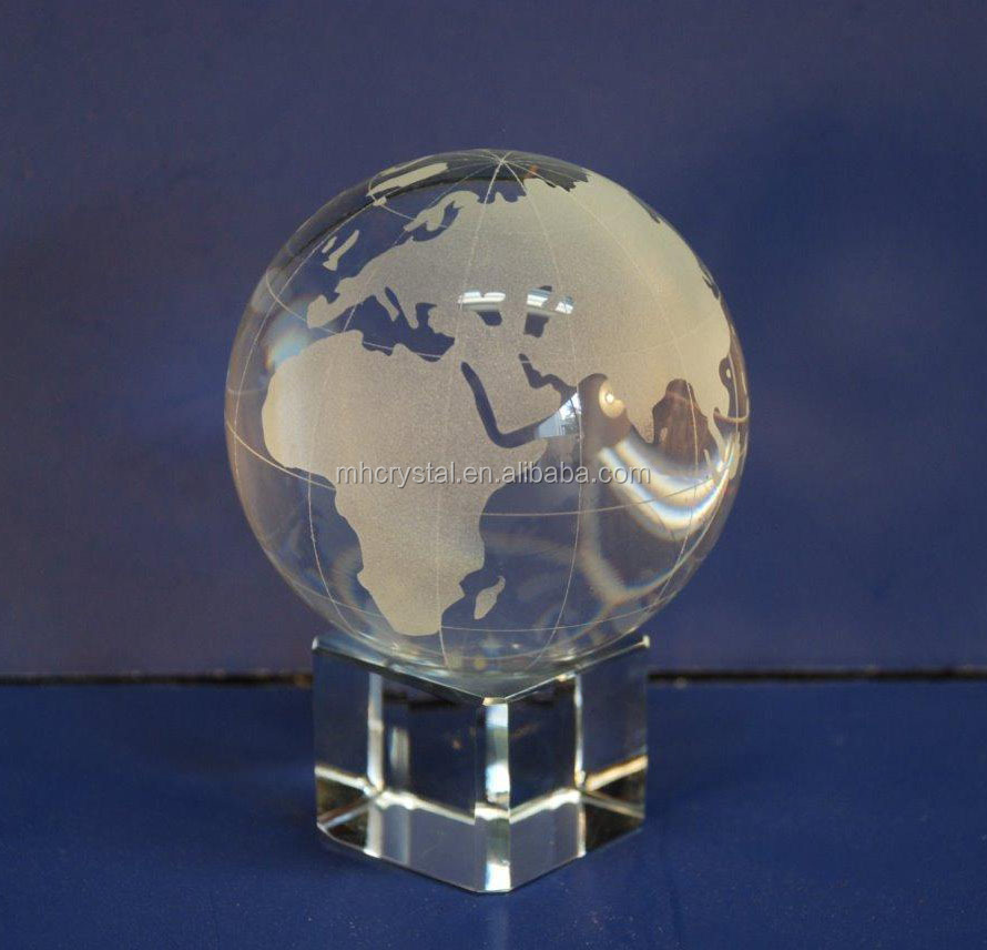 Solid Clear Glass Crystal World Globe MH-0186