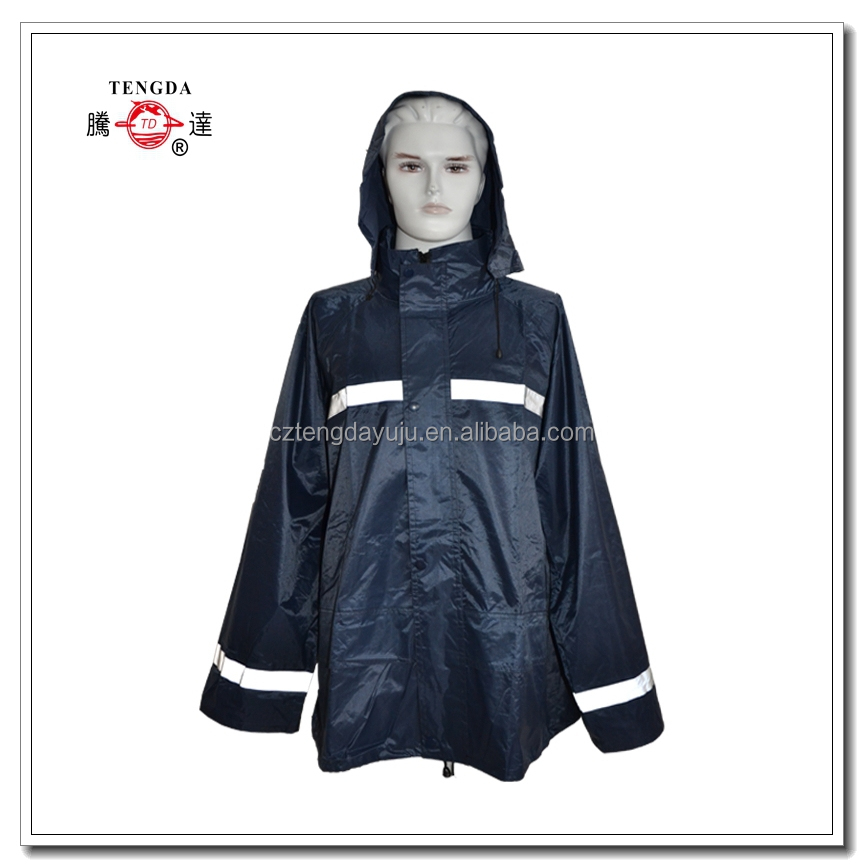 raincoat factory OEM safety rain coats with reflective tape