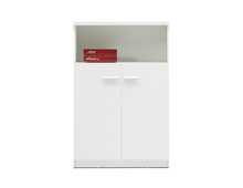 Economical wood swing door file cabinet office furniture open bookshelf on top