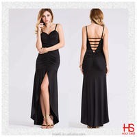 Sexy Spaghetti Strap Front Short Long Back Women Black Gowns Evening Dresses