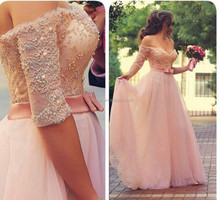 2015 Romantic Pink A-Line Tulle Wedding Dresses Sweetheart Off the Shoulder Half Sleeve Beaded Long Floor Length Bridal Gown