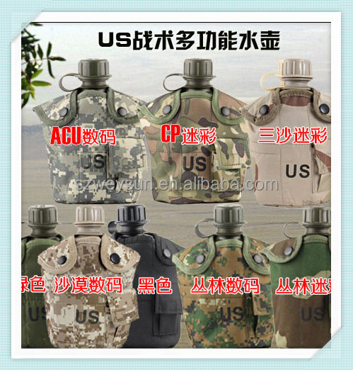 Heavy Cover Army Water Bottle Aluminum Cooking Cup US 1L Military Canteen Camping Hiking Survival Kettle Outdoor Tableware