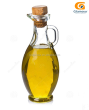 clear glass olive oil bottle with handle and no dripping beak spout