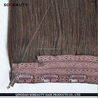 OH Hot!! Alibaba express fashion 7 layer lace weft halo hair extensions real mink brazilian hair