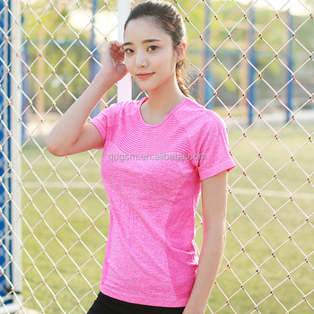 Ladies Seamless short sleeve gym sports lightweight Tshirts