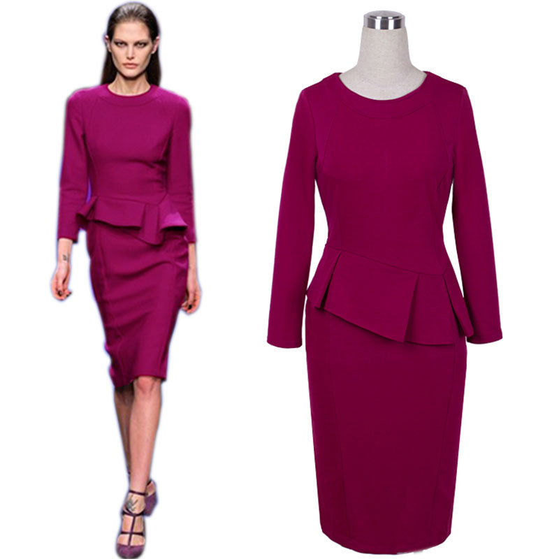 Buy New Autumn Winter Slimming Pencil Dress Ruffles Semi Formal Lady