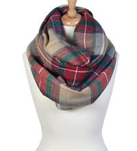 Wholesale Women Fashion Cashmere Plaid & Tartan Infinity Scarf