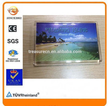 Factory wholesale clear acrylic photo fridge magnet for tourist souvenir, arylic refrigerator magnet
