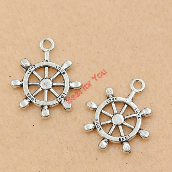 Mixed Tibetan Silver Tone Anchor Rudder Charm Pendants for Bracelet Necklace Jewelry Accessories Diy Jewelry Making