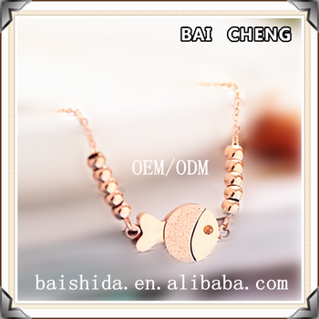 2017 Newest design Rose gold Fish shape stainless steel Necklace for Child and Lady