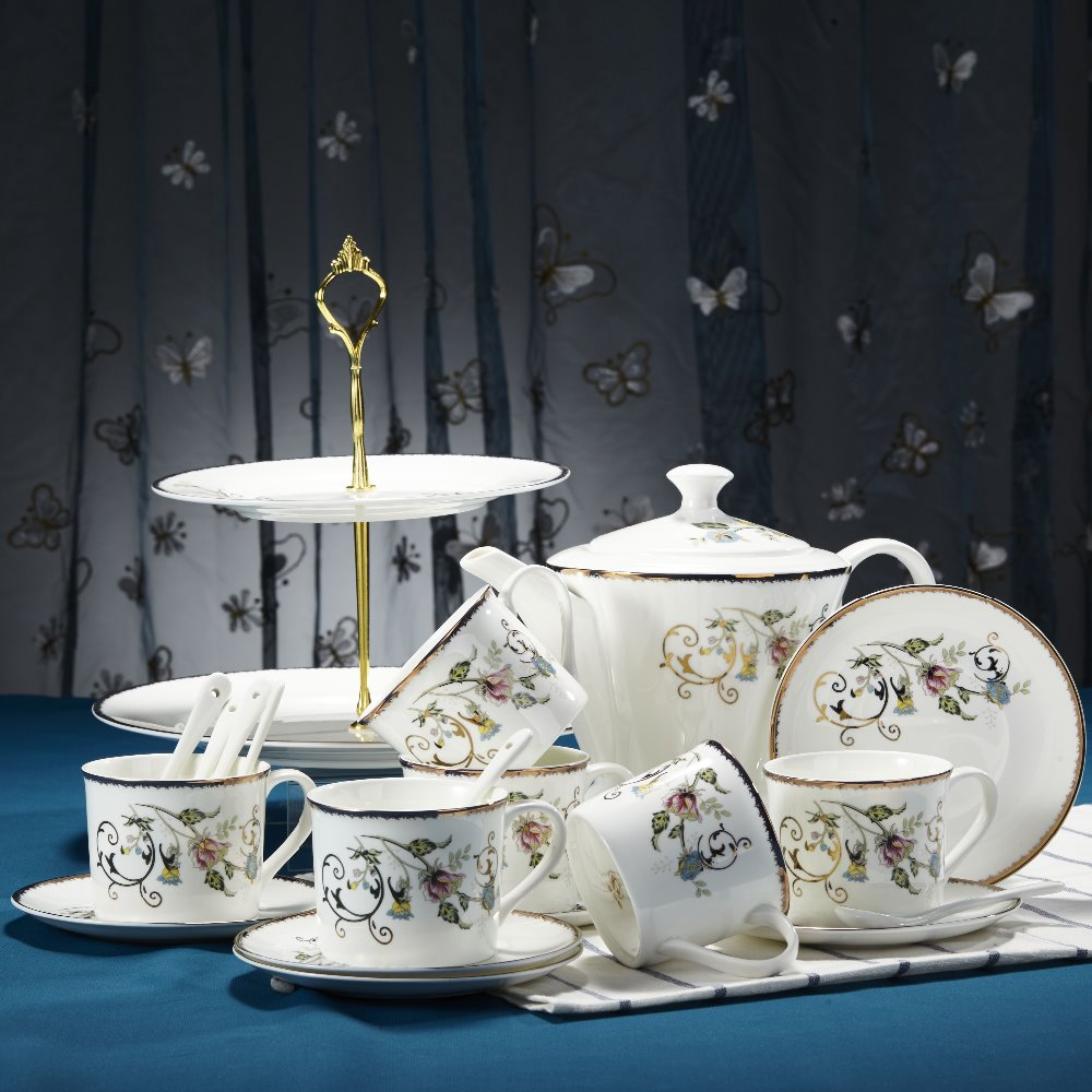 20pcs bone china coffee set , Rome's life series coffee set, flower pattern with golden edge