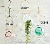 Handmade Art Glass Home & Garden Decorative Modern Hanging Glass Flower Vases for Planter