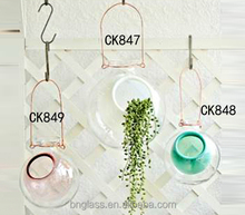 Handmade Art Glass Home & Garden Decorative Modern Hanging Glass Flower Vases for Planter