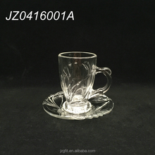 Wholesale hot sale factory price classic clear turkish tea glass cup&saucer, glass tea cup with handle, glass coffee cup&saucer