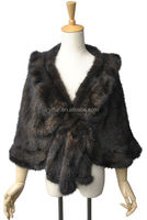 YR331A France Black and Brown Hot Sale Super Quality Mink Fur Poncho