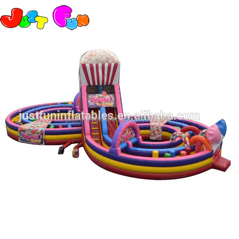 cheap sugar rush inflatable obstacle course for sale