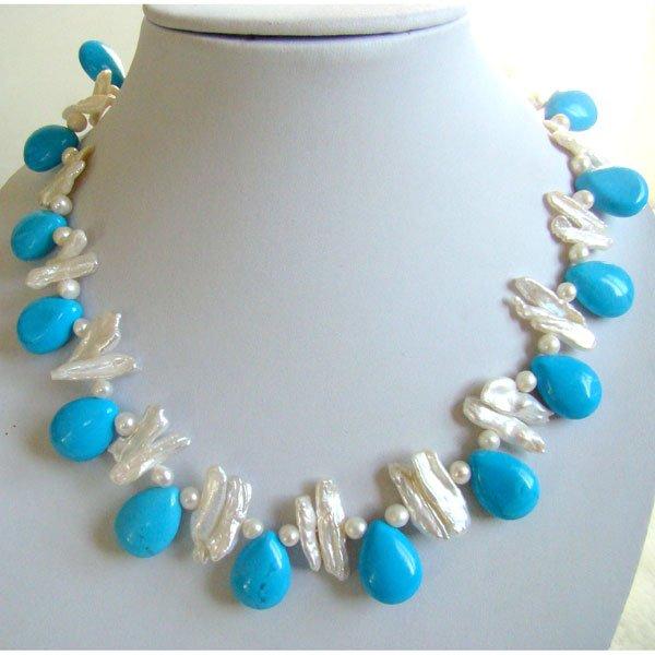 Turquesa de la piedra preciosa collar con perlas de agua for Piedra preciosa turquesa